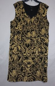 Lane Bryant Black Gold Leather Trim Dress 26 Plus